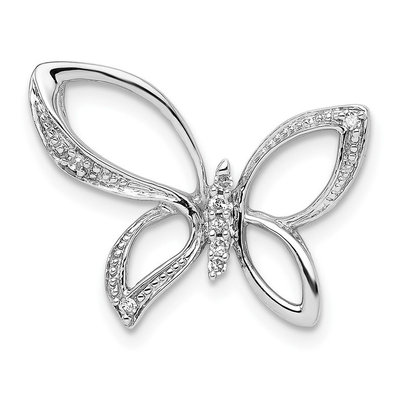 Quality Gold Sterling Silver Rhodium Diam. Butterfly Pendant
