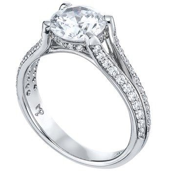 Bead Set Split Shank Diamond Engagement Ring