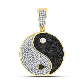 10kt Yellow Gold Mens Round Black Color Enhanced Diamond Yin Yang Charm Pendant 1-3/4 Cttw