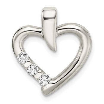 Sterling Silver Polished w/CZ Heart Slide