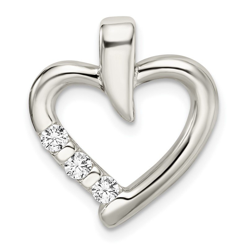Quality Gold Sterling Silver Polished w/CZ Heart Slide