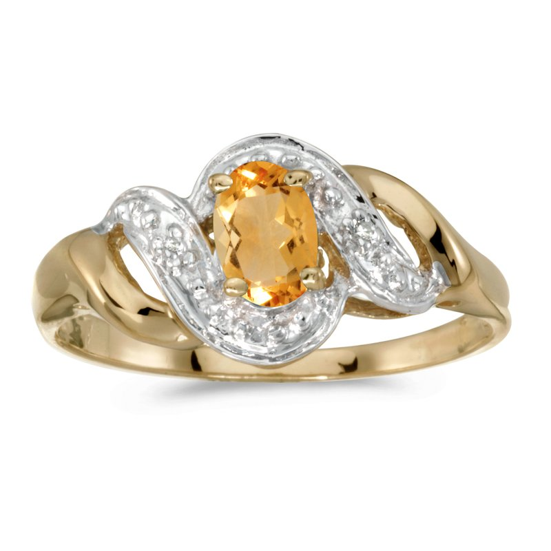 Color Merchants 14k Yellow Gold Oval Citrine And Diamond Swirl Ring