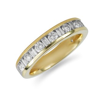 14K YG Diamond Rounds and Baguettes Ring