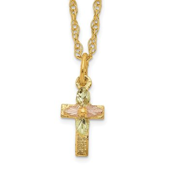 10k Tri-Color Black Hills Gold Cross Necklace