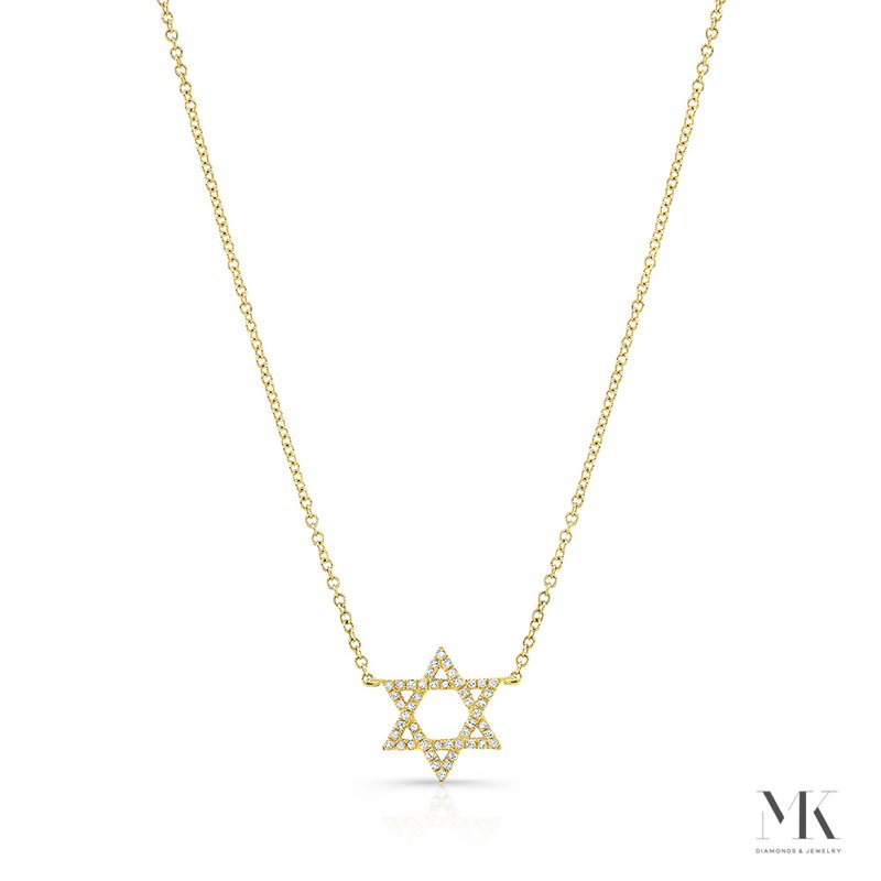 Yellow Gold Piety Petite Star Of David Necklace