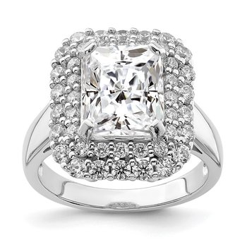 Sterling Silver Rhodium-plated 10x8 Cushion CZ Ring