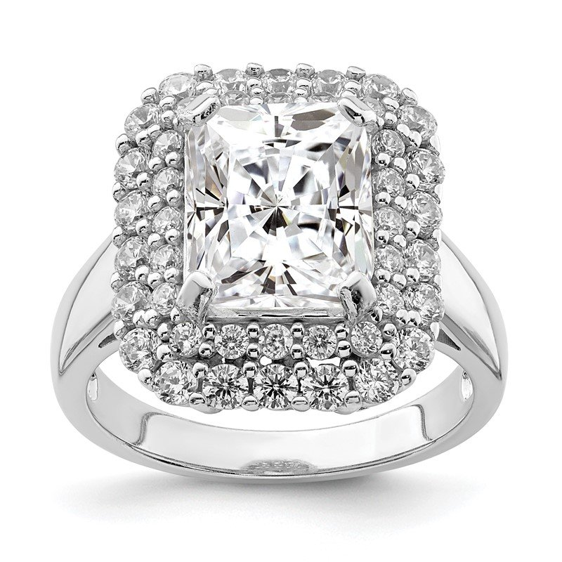 Lester Martin Online Collection Sterling Silver Rhodium-plated 10x8 Cushion CZ Ring