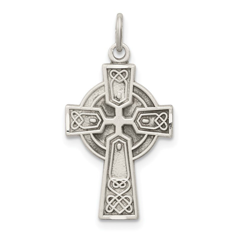 Quality Gold Sterling Silver Antiqued Small Celtic Cross Pendant