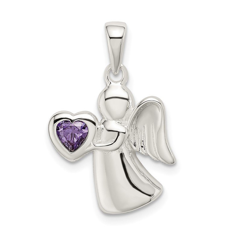 Quality Gold Sterling Silver Angel w/Purple CZ Heart Pendant
