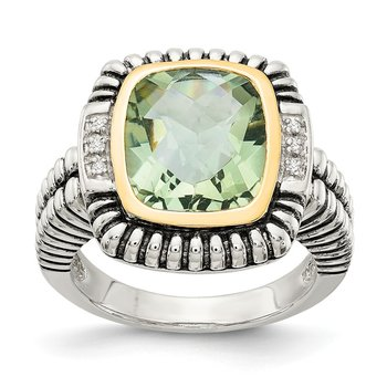 Sterling Silver w/14k Green Quartz & Diamond Ring