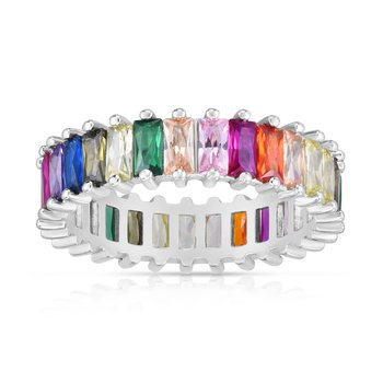 Silver Rainbow CZ Baguette Eternity Band