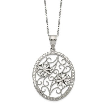 Sterling Silver Polished & D/C Necklace