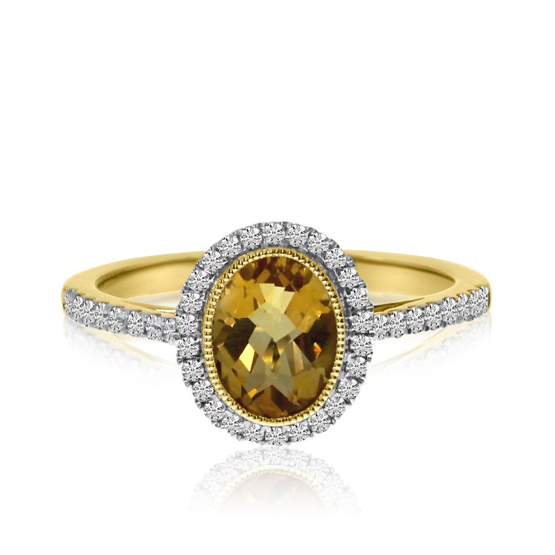 Color Merchants 14k Yellow Gold Oval Bezel Citrine and Diamond Ring