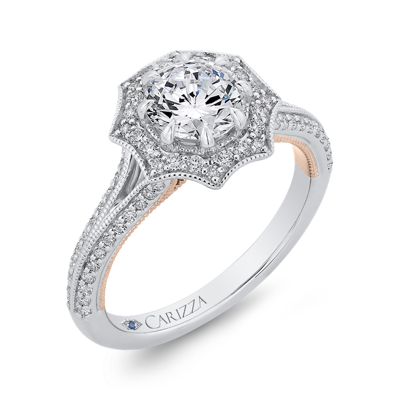 14K Two-Tone Gold Round Diamond Floral Halo Engagement Ring with Split Shank (Semi-Mount)