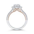 Carizza 14K Two-Tone Gold Round Diamond Floral Halo Engagement Ring with Split Shank (Semi-Mount)