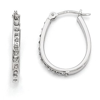 14k White Diamond Fascination Oval Hinged Hoop Earrings