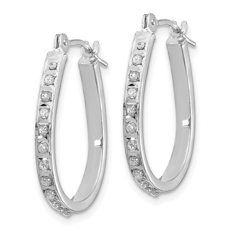 Quality Gold 14k White Diamond Fascination Oval Hinged Hoop Earrings