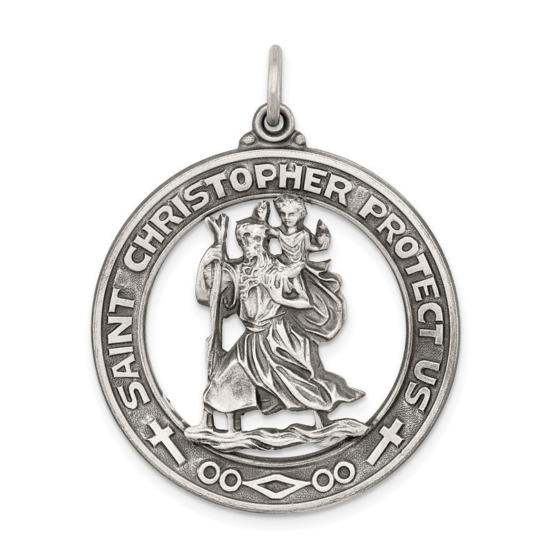 Quality Gold Sterling Silver St. Christopher Medal