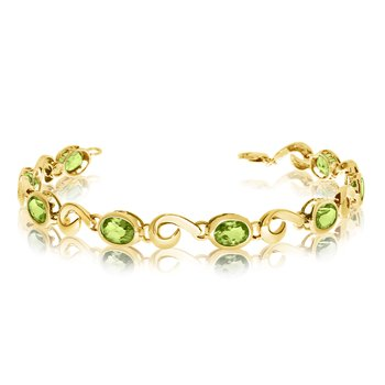 14K Yellow Gold Oval Peridot Bracelet