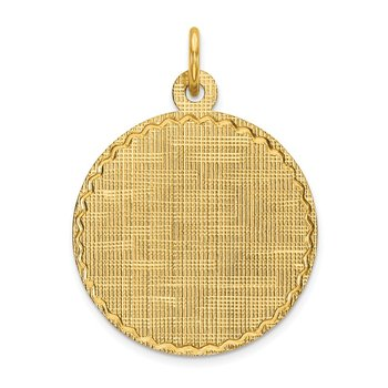 14k Patterned .013 Gauge Circular Engravable Disc Charm