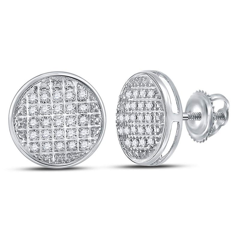 Gold-N-Diamonds, Inc. (Atlanta) 10kt White Gold Mens Round Diamond Circle Cluster Stud Earrings 1/8 Cttw