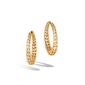 Classic Chain Graduated Small Hoop Earring in 18K Gold