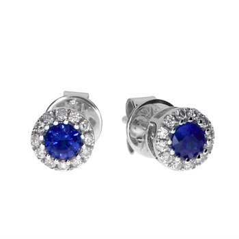 14k White Sapphire and Diamond Round Earring