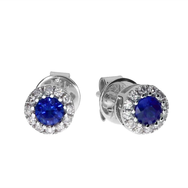 Color Merchants 14k White Sapphire and Diamond Round Earring