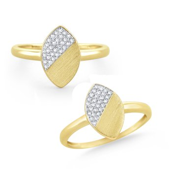 14 Kt. Brushed Gold & Diamond Marquise Disc Ring