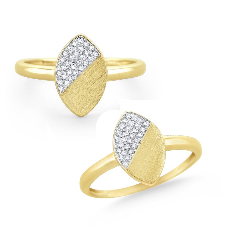 MAZZARESE Fashion 14 Kt. Brushed Gold & Diamond Marquise Disc Ring