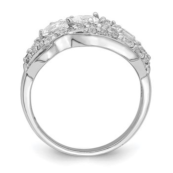 Sterling Silver Rhodium-plated Pear CZ Fancy Ring