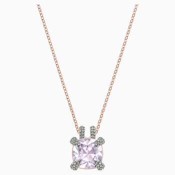 Make Pendant, Violet, Rose-gold tone plated