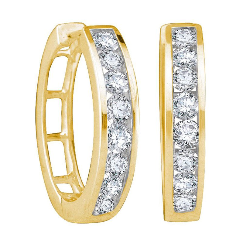 Kingdom Treasures 10kt Yellow Gold Womens Round Diamond Hoop Earrings 1.00 Cttw
