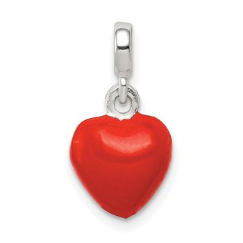 Sterling Silver Red Enameled Heart Enhancer