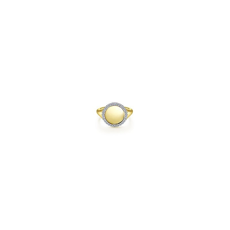 Gabriel Fashion 14K Yellow Gold Pinky Signet Ring with Diamond Halo
