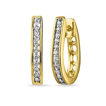 14K YG Diamond Oval Hoops Ear-rings Channel Prong with open design back with safe clasp
