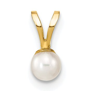 14k Gold 3-4mm Round White FW Cultured Pearl Pendant