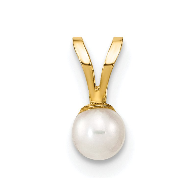 Quality Gold 14k Gold 3-4mm Round White FW Cultured Pearl Pendant