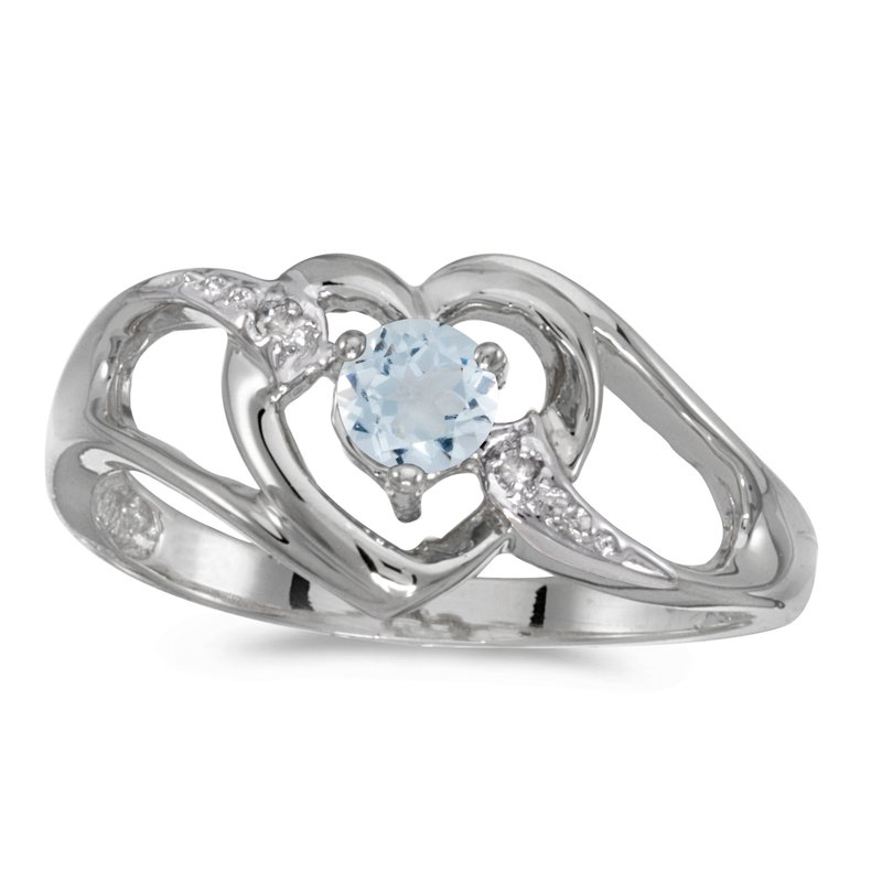 Color Merchants 10k White Gold Round Aquamarine And Diamond Heart Ring