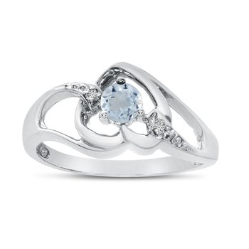 10k White Gold Round Aquamarine And Diamond Heart Ring