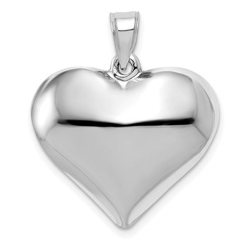 14k White Gold Polished 3D Puffed Heart Pendant