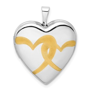 Sterling Silver Rhodium-plated Gold-plated Linked Hearts 20mm Heart Locket