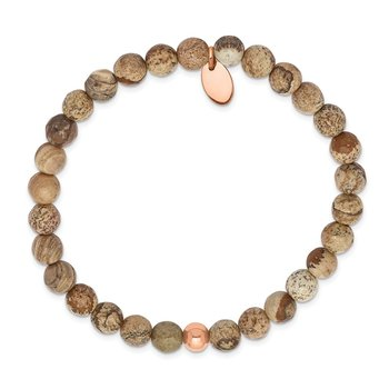 Stainless Steel Polished Rose IP-plated Brown Jasper Stretch Bracelet