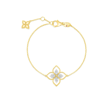 18K PRINCIPESSA LARGE SINGLE DIAMOND FLOWER BRACELET
