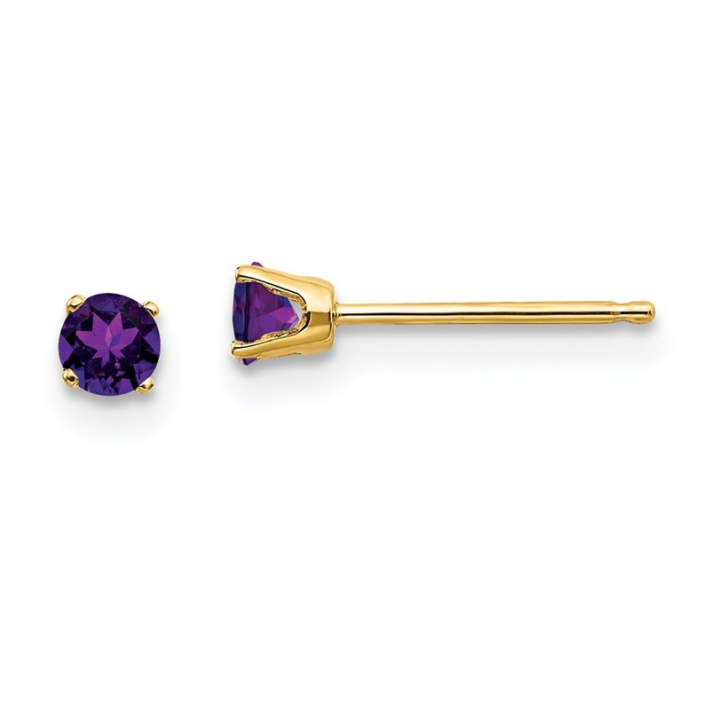 Quality Gold 14k 3mm February/Amethyst Post Earrings