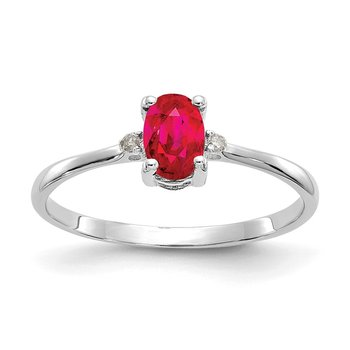 14k White Gold Diamond & Ruby Birthstone Ring