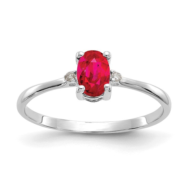 Quality Gold 14k White Gold Diamond & Ruby Birthstone Ring