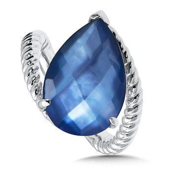 Sterling Silver Dyed Blue Mother of Pearl Fusion Ring