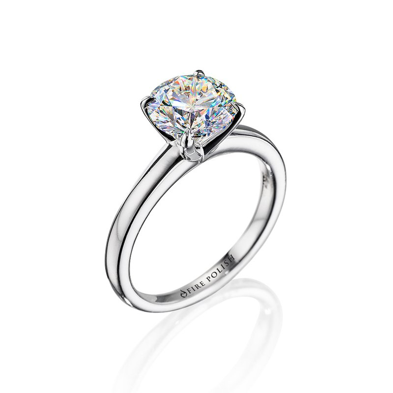 Fire Polish Diamonds Solitaire Ring 1 1/2 CT
