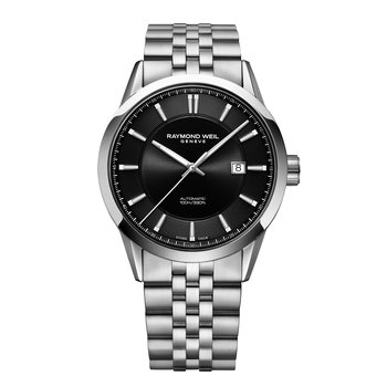 Men's Automatic Date Watch, 42mm, stainless steel, black dial